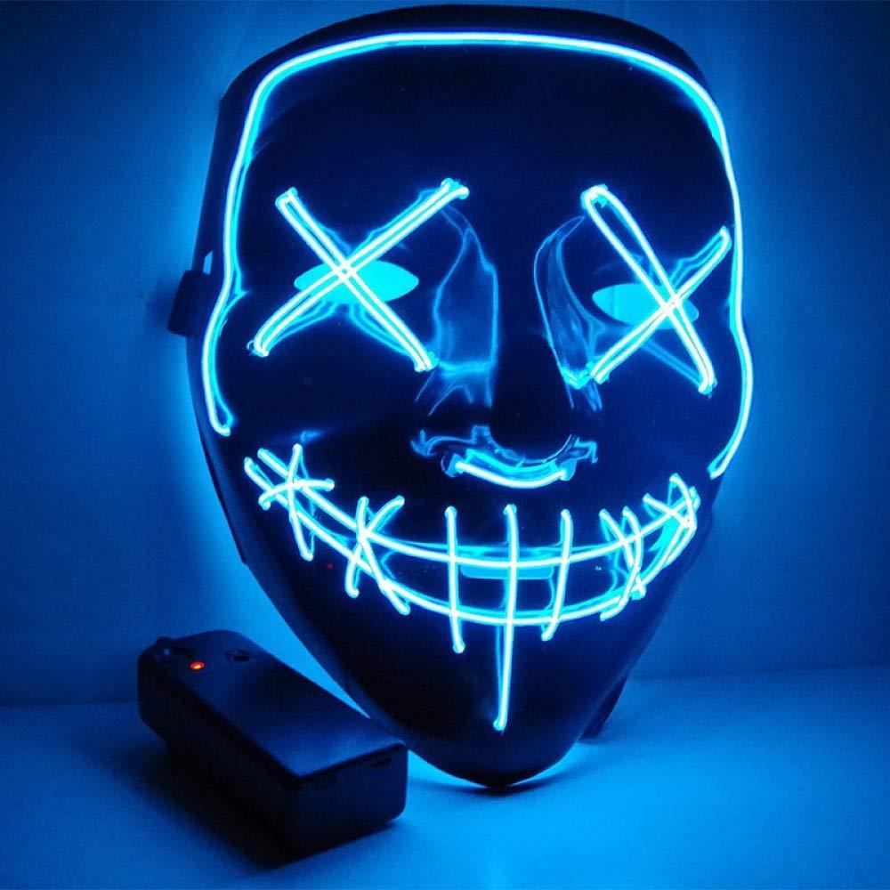 blu LIXIAO Maschera di Htuttioween Vibrato Smorfia Nera con Gli Stessi Oggetti di Scena Maschera Fluorescente borsaliore Horror Lampeggiante,arancia