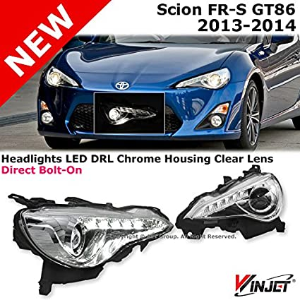 Scion Frs Parts >> Winjet Scion Frs Gt86 13 14 Jdm Chrome Housing Projector Headlights Led Drl