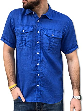 CAMICIE & Dalrededorni - Camisa de algodón puro para hombre, manga corta, talla S, M, L, XL, XXL, 3XL, doble bolsillo: Amazon.es: Ropa y accesorios