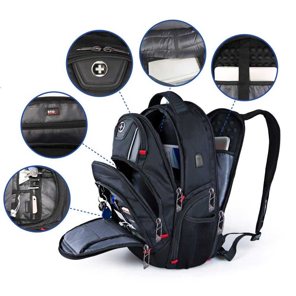 Laptop Backpack,Swissdigital Busniess Backpack with USB Port,RFID Protection and TSA Smart Scan for Travel Fits Under 15.6-Inch Laptop for Man, Black by Swissdigital (Image #3)