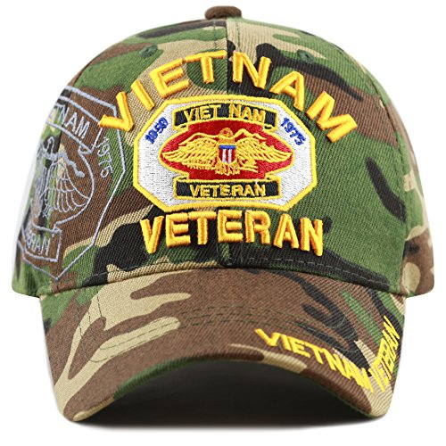 THE HAT DEPOT 1100 Official Licensed Vietnam Veteran(1959-1975) 3D Baseball Cap (Woodland Camo) ()