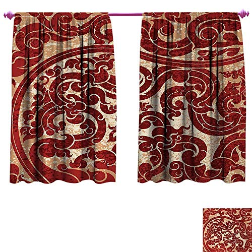 Antique Decor Curtains by Thai Culture Vector Abstract Background Flower Pattern Wallpaper Design Artwork Print Thermal Insulating Blackout Curtain W96 x L72 Ruby - Cambria Hanging