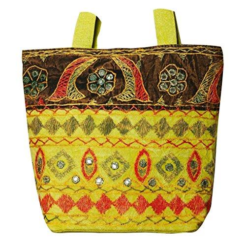 Jaipuri Embroidery Mirror Work Olive College Bag