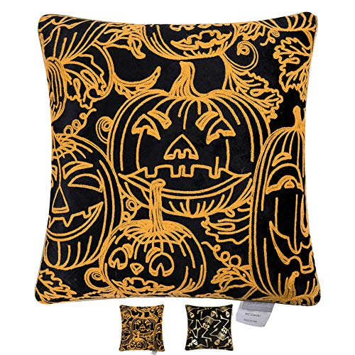 Hahadidi Pumpkin Throw Pillow Cover Home Decorative Crewel Embroidery Pillow Case Cushion Cover for Car Sofa Bed,Black Italian Velvet Creative Gift 18x18 Inch(45x45 cm)