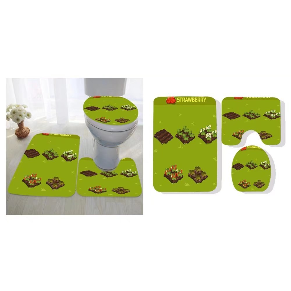 Carolyn J Morin Three Piece Toilet Seat Pad Custom Set Strawberry Isometric Stage Of Growth Berries Red Kitchen Dining