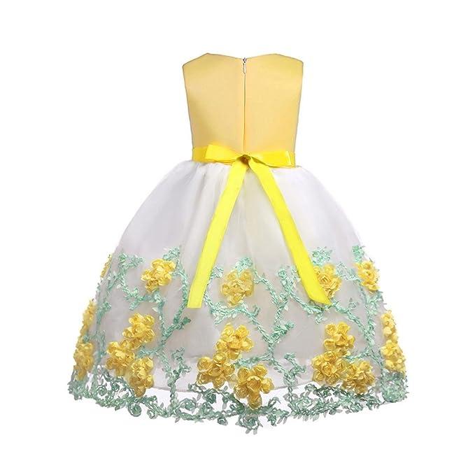 Niñas Vestido de Princesa sin Mangas Cuello Redondo de Dama de Honor Fiesta de Boda ❤ Manadlian: Amazon.es: Ropa y accesorios