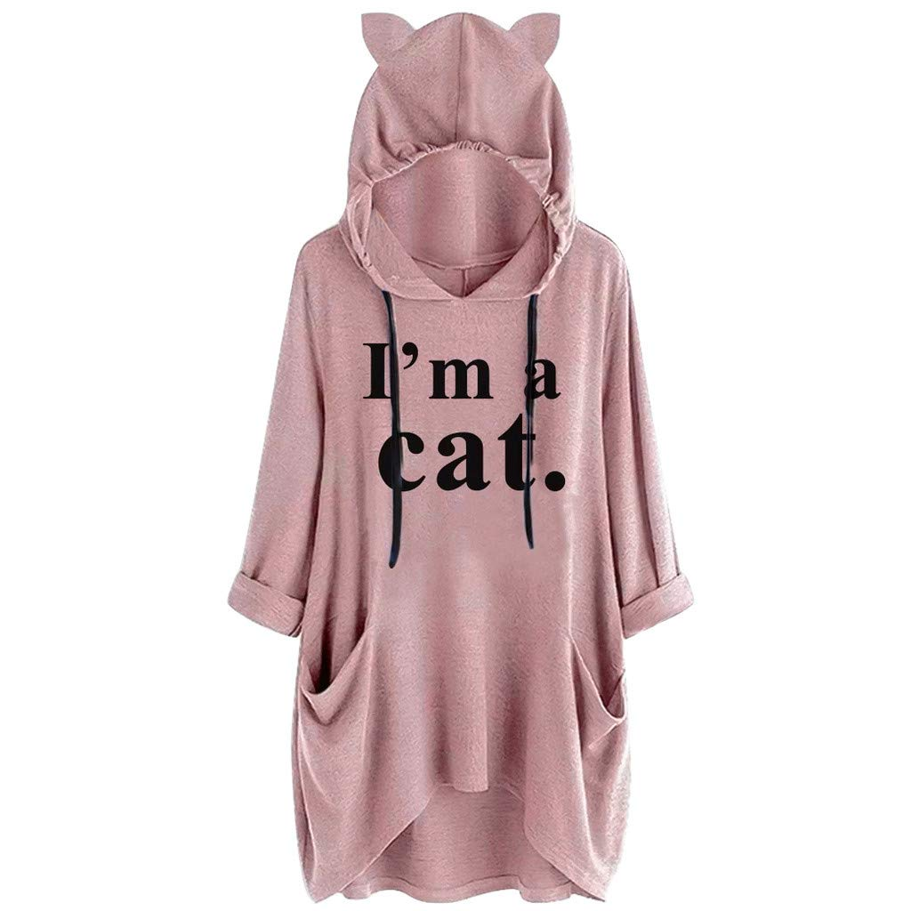 Royallove  I'm a Cat Graphic Women Sweatshirt Long Sleeve Pullover Hoodies Loose Fit Pocket Tunic Tops for Girl Teens Pink by Royallove