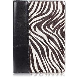 Genuine Furry Animal Print Leather Notebook Padfolio (Small, Zebra Print)