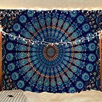 Bless International Indian Hippie Bohemian Psychedelic Peacock Mandala Wall Hanging Bedding Tapestry (Blue Green, Twin…