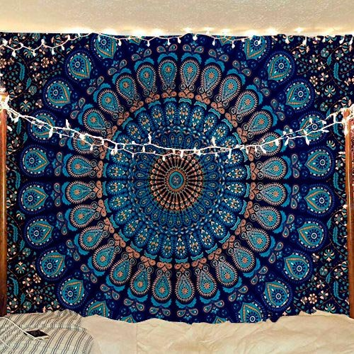 (Bless International Indian Hippie Bohemian Psychedelic Peacock Mandala Wall Hanging Bedding Tapestry (Blue Green,)