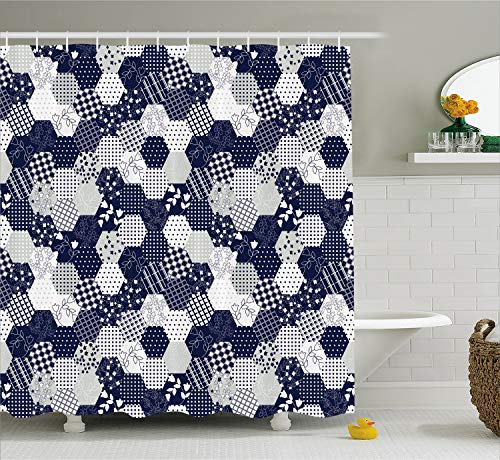Ambesonne Navy Blue Shower Curtain, Octagon Patchwork Style Pattern Image with Dots Stars Squares and Stripes, Cloth Fabric Bathroom Decor Set with Hooks, 70