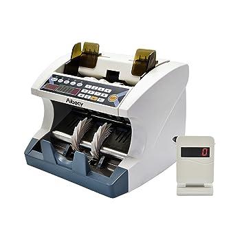 aibecy - Contador de billetes multifuncional detector de falsificación con UV MG + Adjustable velocidad de contar + LED gráfico externo para Dólar EURO ...