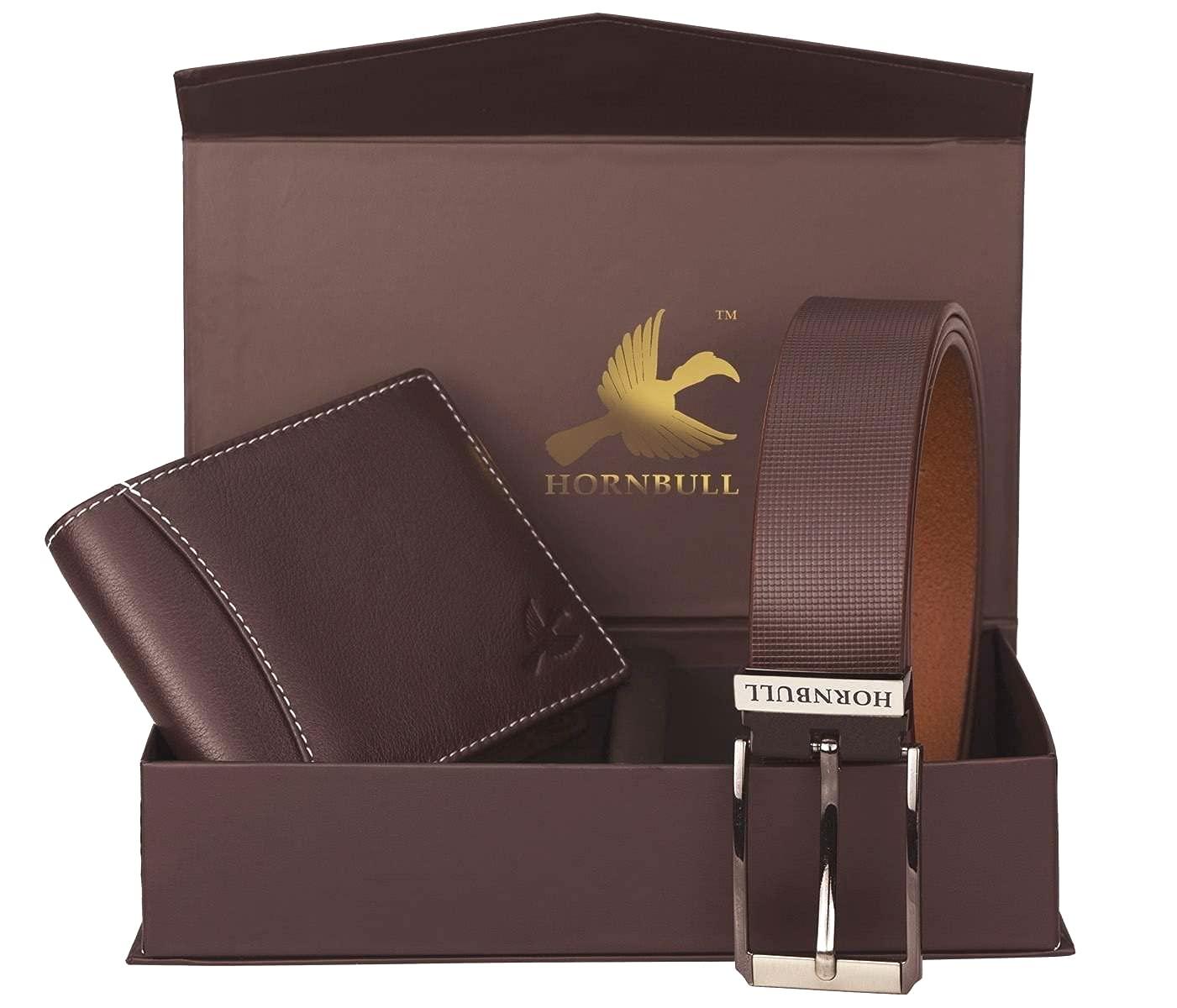 Hornbull Gift Hamper for Men - Brown Wallet and Brown Belt Men's Combo Gift Set 4595
