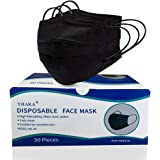 Yjiaka Disposable 3 Ply Black Face Mask for Protection Breathable Mouth Cover with Adjustable Nose Clip and Elastic Ear…