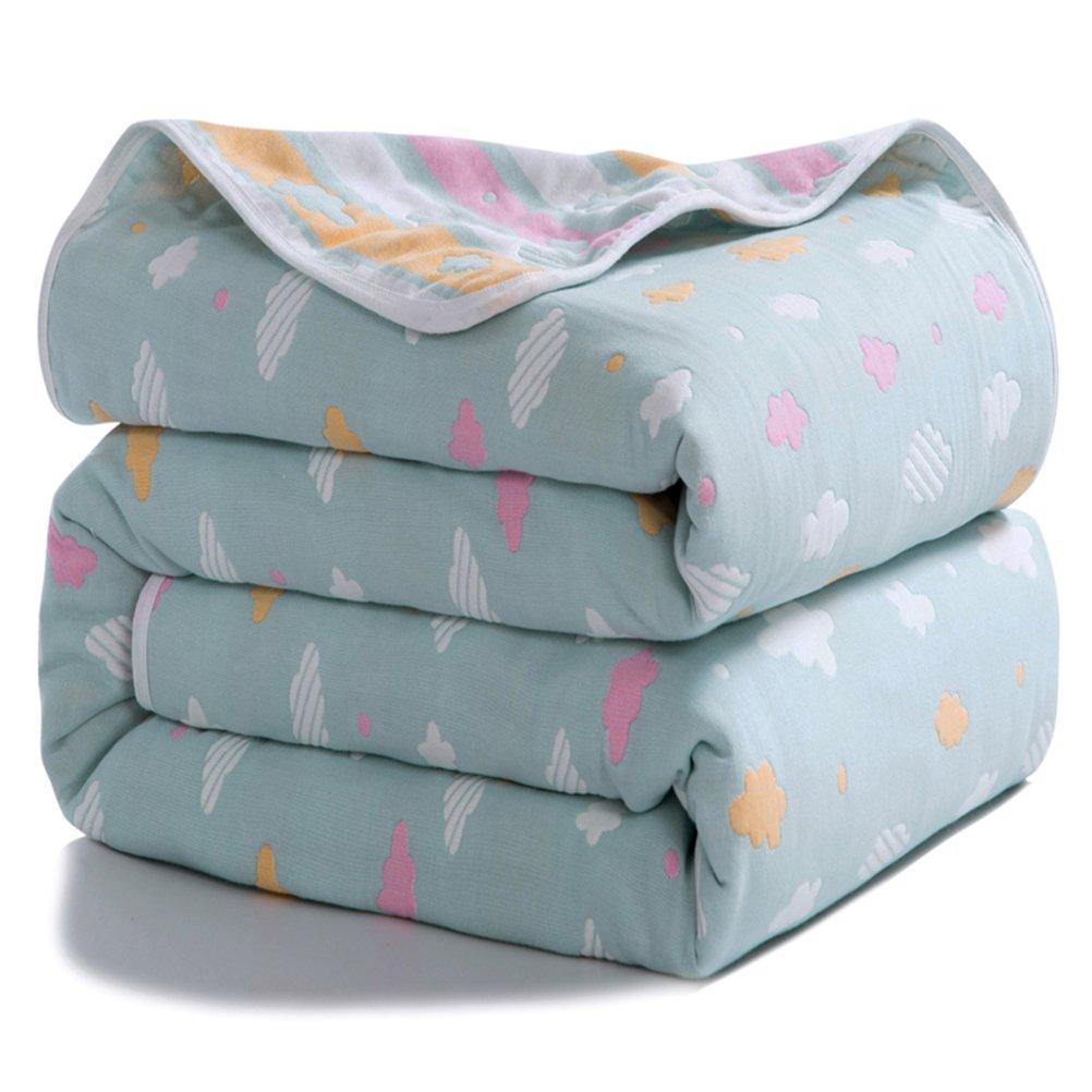 Joyreap 6 Layers of 100% Muslin Cotton Summer Blanket - Soft Lightweight Summer Quilt for Teens & Kids - Hypoallergenic Durable and Comfortable Throw Blanket (Cloud-Blue, 47''x 59'')