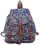 MLG Women & Girls Canvas Backpack Casual Book Bag Knapsack Blue OS