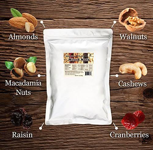 Daily Nuts & Fruits Mixed Nuts 3 LBS (Roasted Almonds, Roasted Cashews, Macadamias, Walnuts, Cranberries, Raisins) No Artificials, Unsalted, Natural, Premium Nuts