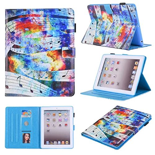 Anya Slip - iPad 2 Case/ iPad 3 Case/ iPad 4 Case, Anya [Non Slip Surface] Colorful PU Leather Folio Stand Cover with Auto Wake/Sleep Function Smart Case for iPad 2/3/4 Generation Sky Music