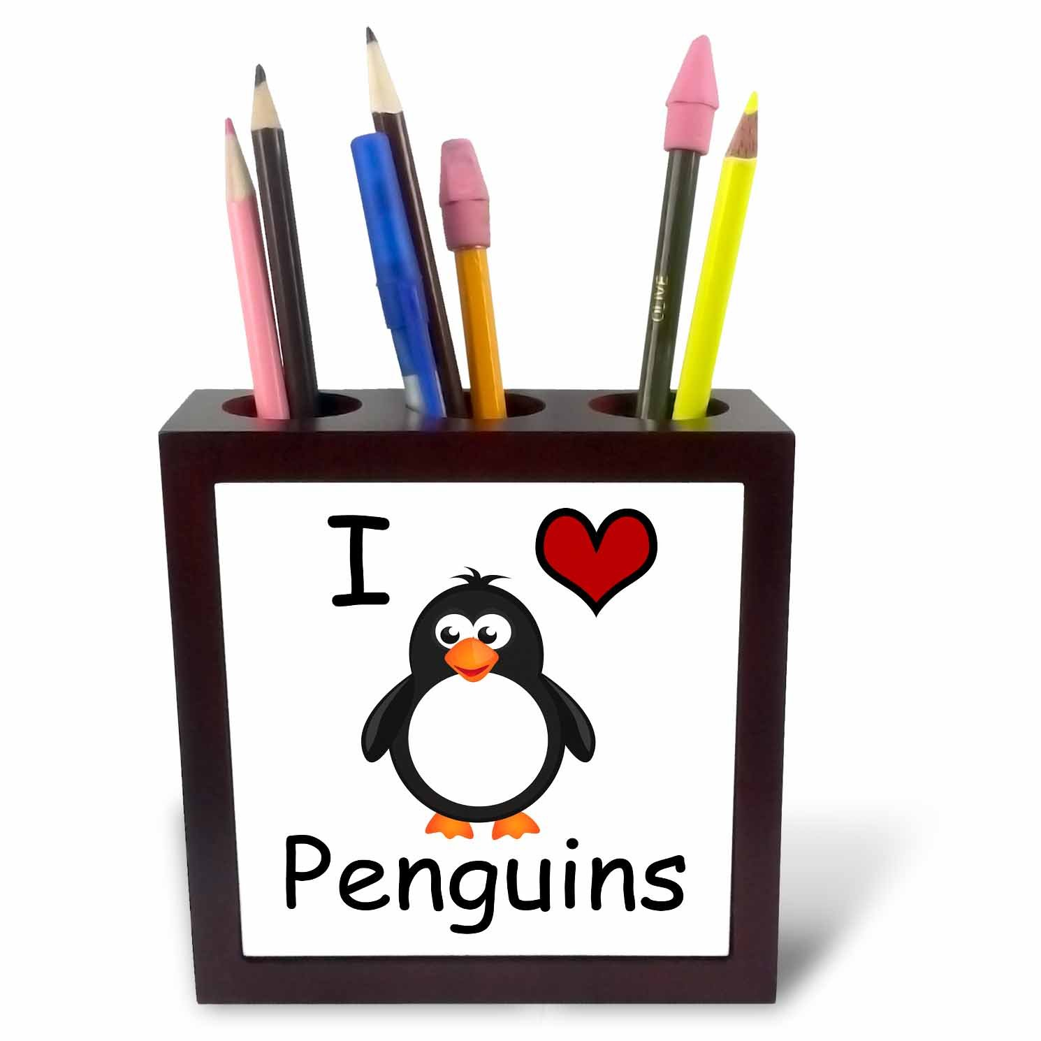3dRose ph_123042_1 I Love Penguins Animal Humor Penguin Lovers Tile Pen Holder, 5-Inch