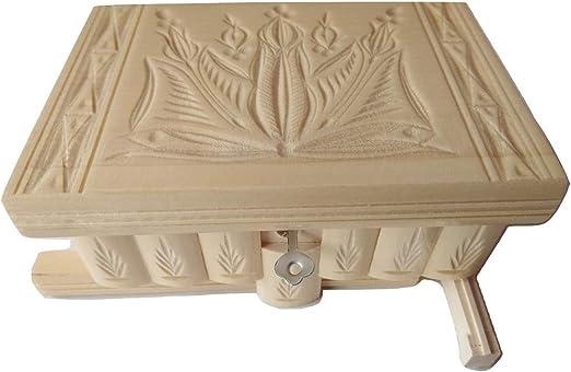 Preciosa caja mágica de madera tallada; caja rompecabezas, con compartimento secreto; caja con truco hecha a mano.: Amazon.es: Juguetes y juegos