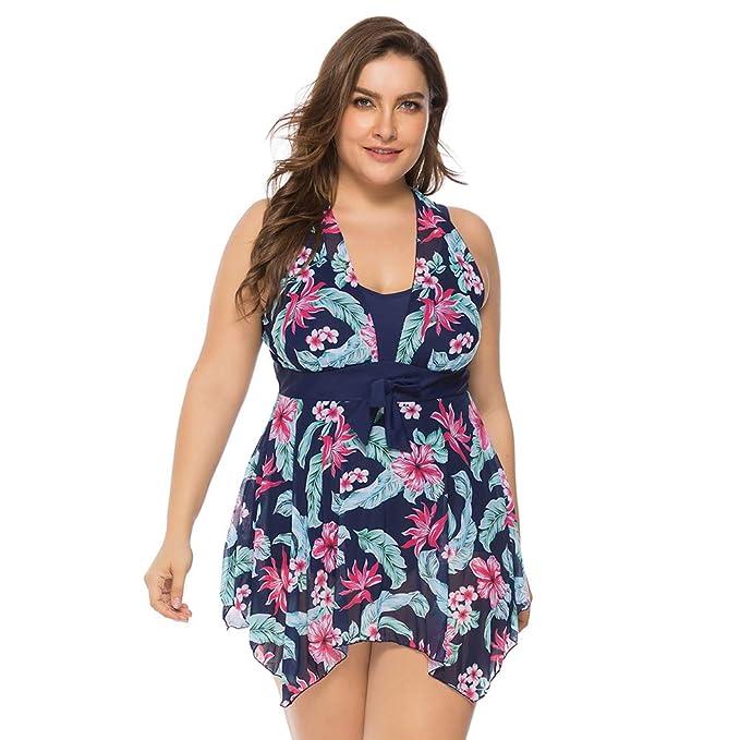 Lover-Beauty Bikini Una Pieza Mujer Talla Grande Ropa de Baño Verano Cuello Halter Playa Traje de Baño Mujer Floral Encaje Tirante Conjunto Fiesta ...