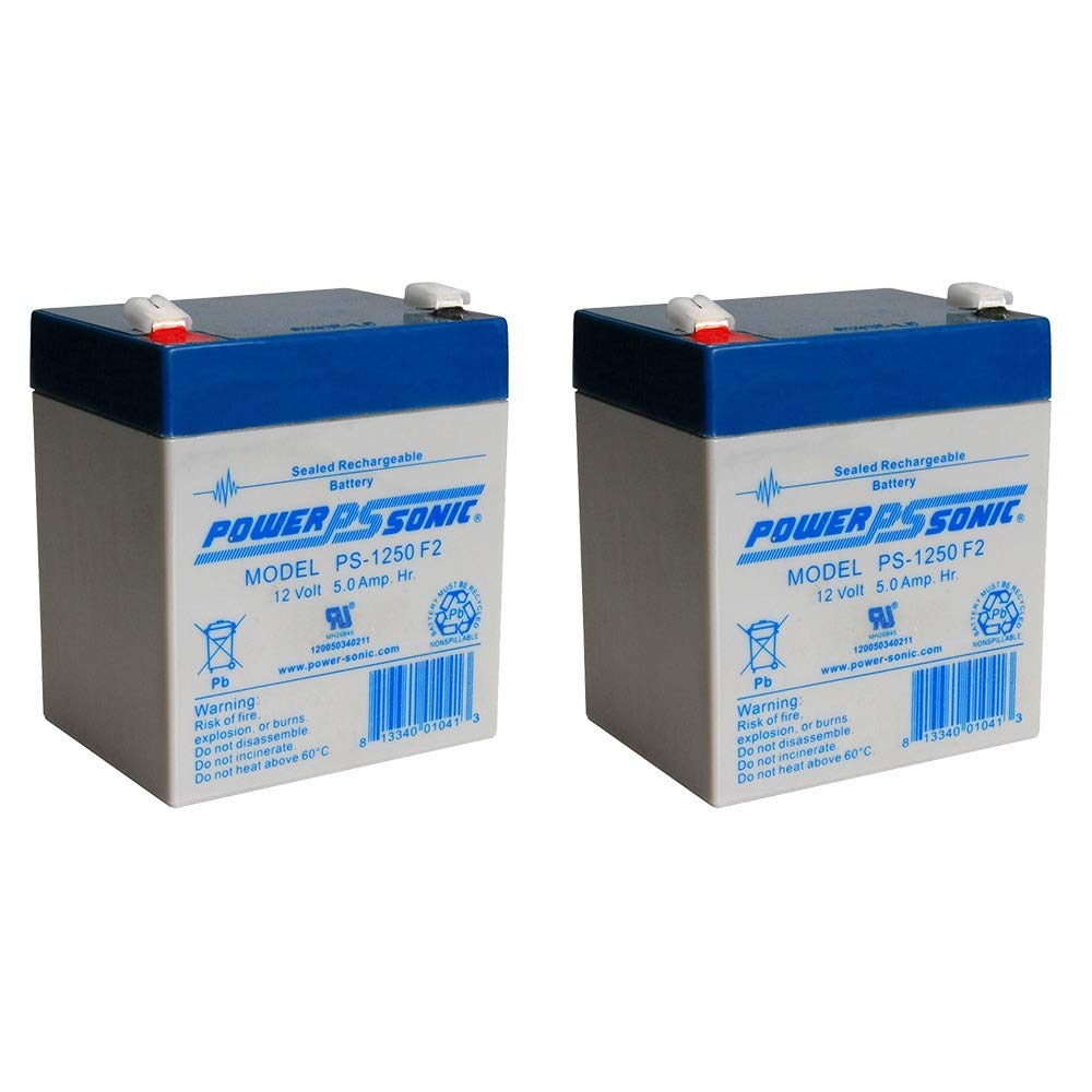 Power-Sonic PS-1250F2 12V 5AH Battery for B D Storm Station SS925-2 Pack by Power-Sonic