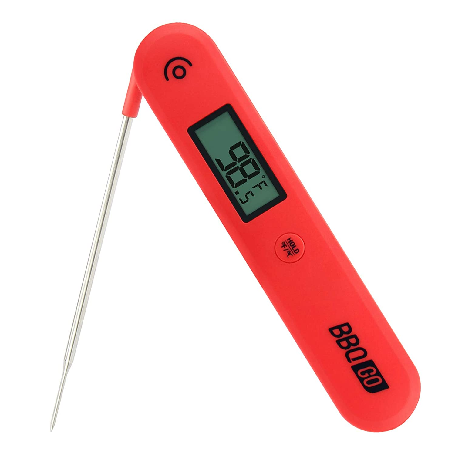 BBQGO Digital Instant Read Candy Thermometer, Kitchen Cooking Food Meat Thermometer with Calibration, Magnet, Foldable Probe, Large Screen, Instant Read Thermometer for Smoker, Oven, Drum (BG-HH1C)