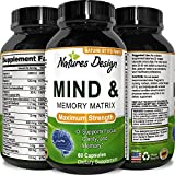 Enhance Brain Memory + Boost Focus + Improve Clarity Mind Booster Supplement For Men And Women - Contains Vitamins + Pure Herbal Ingredients - Natural Cognitive Brain Nutrition