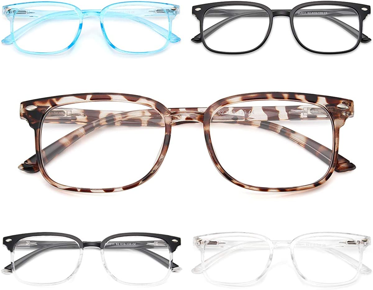 NOVIVON 5-Pack Reading Glasses Blue Light Blocking, Vintage Computer Readers for Men/Women Filter UV Ray/Glare (5 Pack Mix, 1.5): Clothing