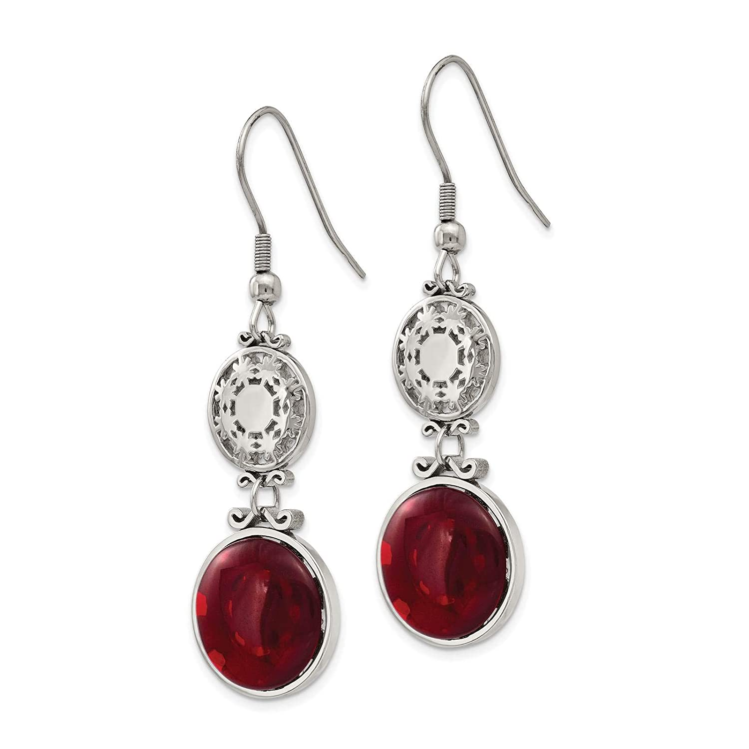 Stainless Steel Polished Circle w//Red Glass Dangle Earrings