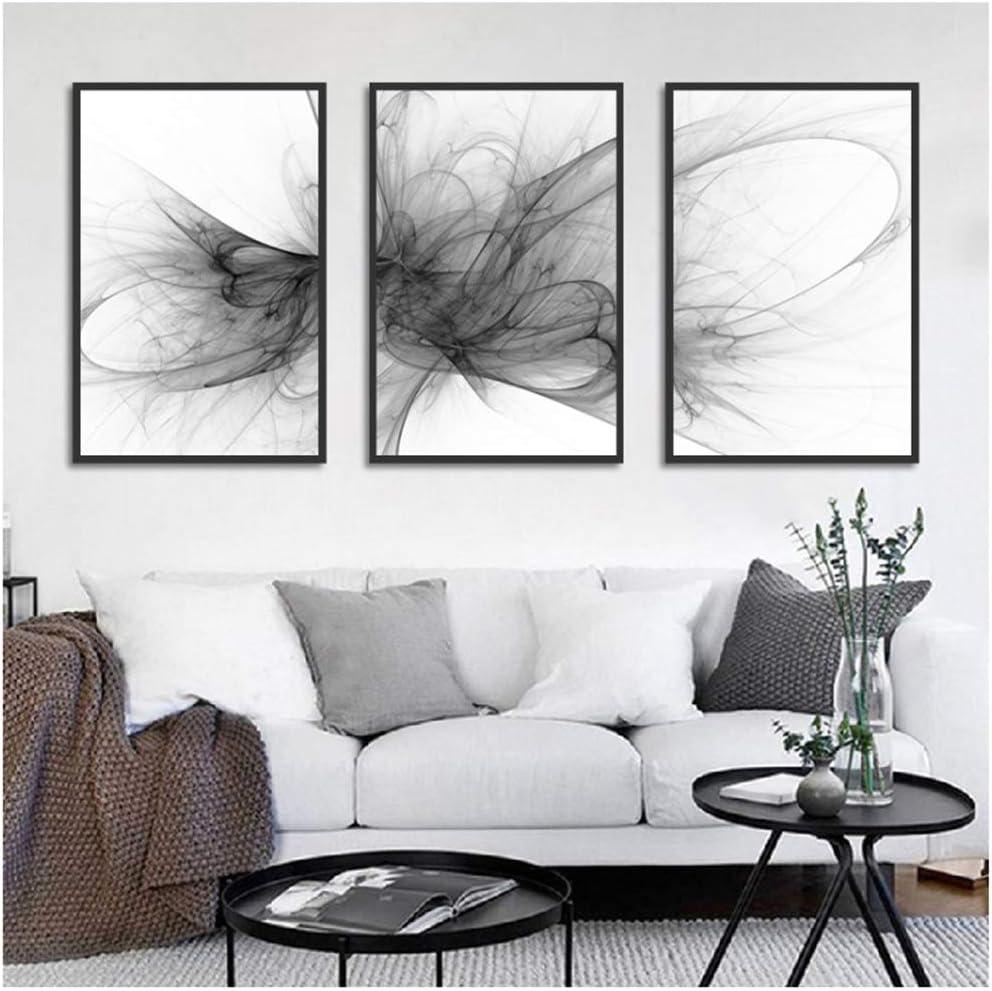 Minimalismo Abstracto Estilo Fondo Blanco y Negro Lienzo Pintura Carteles e Impresiones Cuadros para Sala de Estar -40x60cmx3pcs sin Marco