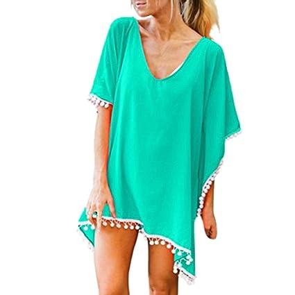 1d88085b967 Forthery Summer Women s Bathing Suit Cover Up Beach Bikini Cold Shoulder  Tassel Crochet Dress (XL