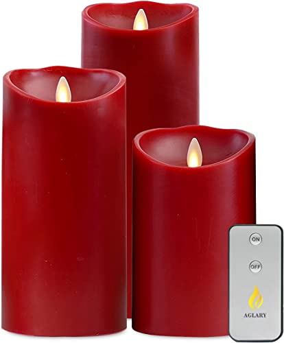 Aglary Moving Flickering Flame Candle with Battery Operated, Cinnamon Scented Real Wax, 5 7 9 Set Red Candle for Birthday, Parties and Other Decorations