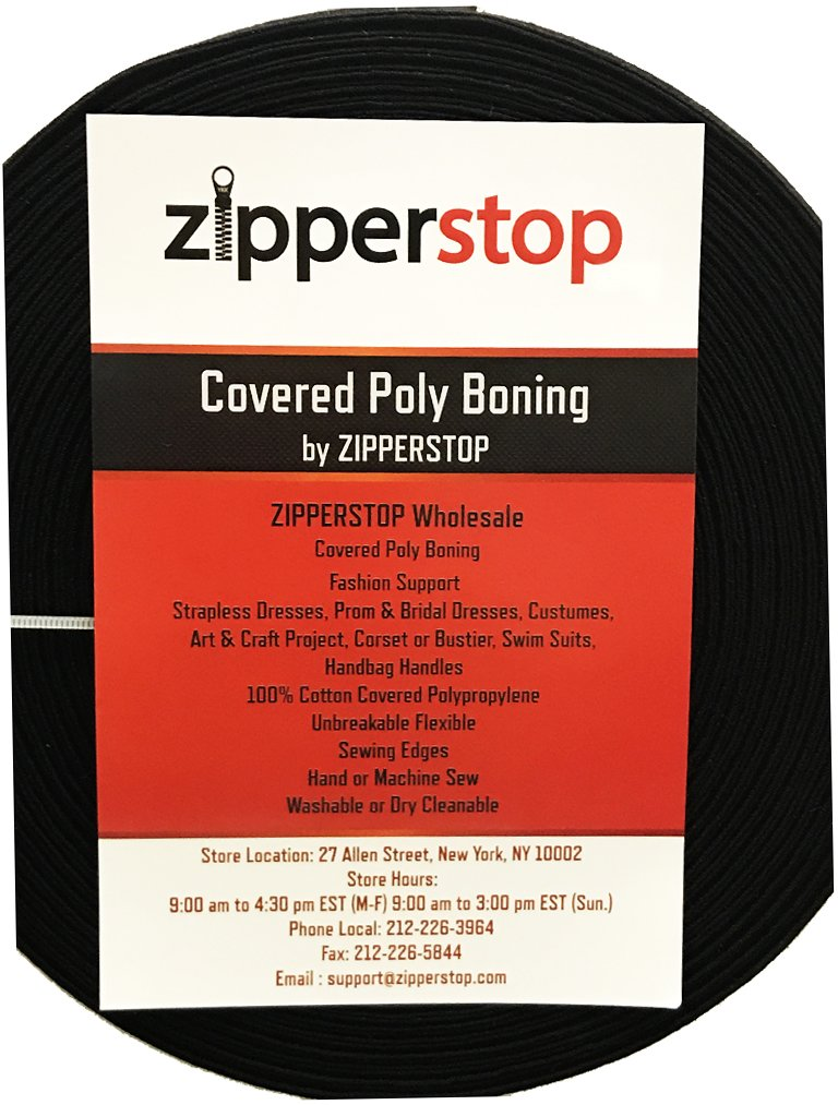 1/2 Inch Covered Poly Boning ~ 100percent Cotton Covered Polypropylene ~ Made USA ~ Black (12 Yards / Pack) ZipperStop cotton6mmbk