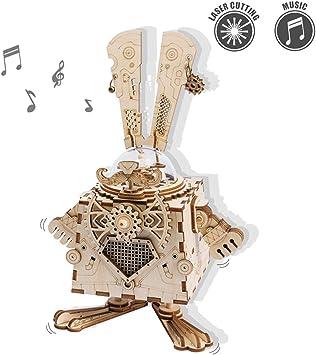 ROKR Kit de Caja Musical de Madera Puzzle de Madera 3D Mechanical Model Construction Kit-Proyectos Divertidos para Adultos y Niños - Maqueta 3D de Funcionamiento mecánico (Bunny): Amazon.es: Juguetes y juegos