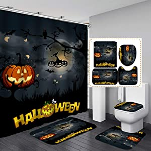 Pumpkin Halloween Shower Curtain Sets, Gerneric 71 Inch X 71 Inch Halloween Bathroom Decorations Set -Shower Curtain with Rugs,Toilet Lid Cover,Bath Mat - Halloween Bathroom Decor with 12 Hooks