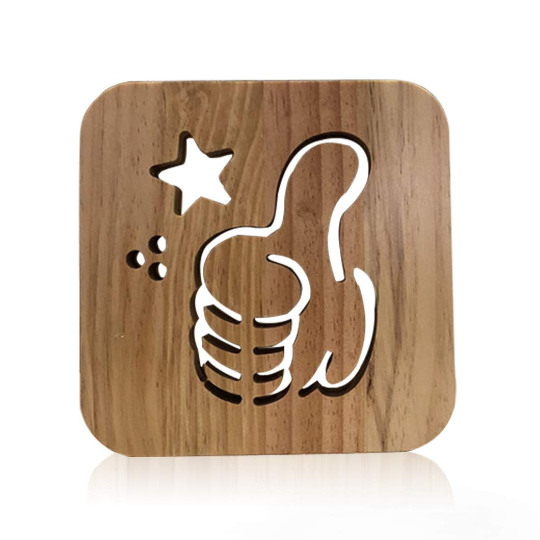 Wooden Like Gesture Led Lamp for Children, LeKong 3D Wooden Carving Patterns, USB Plug in, Gift for Birthday & Friendship, Fit for Halloween & Christmas Decoration, 2018 New