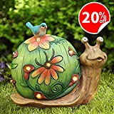 Garden Statue Snail Figurine with Solar Powered Outdoor Lights for Indoor Garden Yard Decorations, 10'x8.5', Housewarming Gift