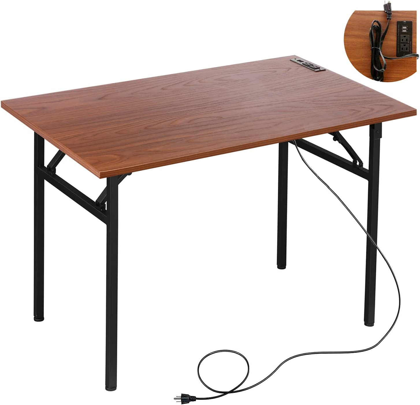 31.5'' Folding Desk with USB Ports & Power Plugs Computer Desk for Small Space No Assembly Required, Portable Office Writing Computer Desks for Home Office, Brown