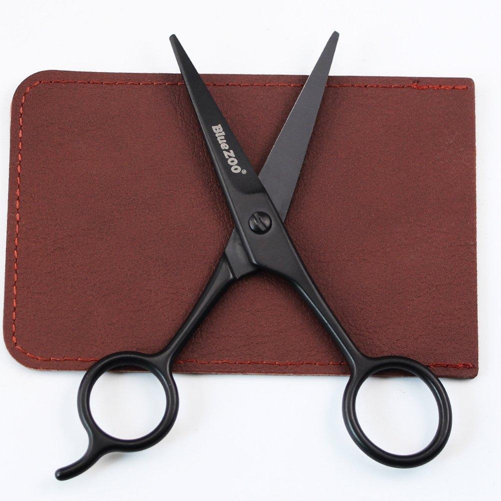 Ochine Beard Scissor for Barber Home Use Stainless Steel Black Mini Size Shaving Shear Beard Trimmer Eyebrow Bang Mustache Scissor