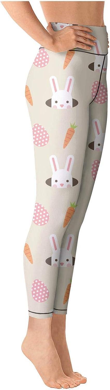 Womens Easter Rabbits and Carrots Egg-01 on 2018 High Waist Yoga Pants Tummy Control Leggings