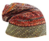 ALLEGRA Women Acrylic Colorful Geo Print 2 Functional Warm Baggy Scarf Beanie, Orange One Size