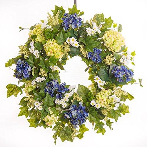 Classic Blue & Green Hydrangea Wreath (26 inch)