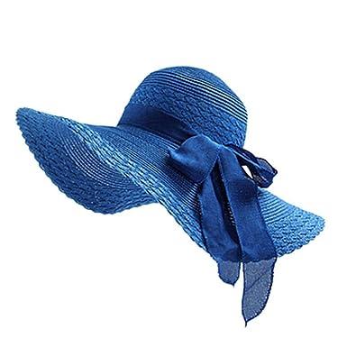 479c3804df6 Cupcinu Straw Hats Summer Sun Beach Hats Bowknot Wide Brim Straw Hats  Foldable Packable Floppy Straw