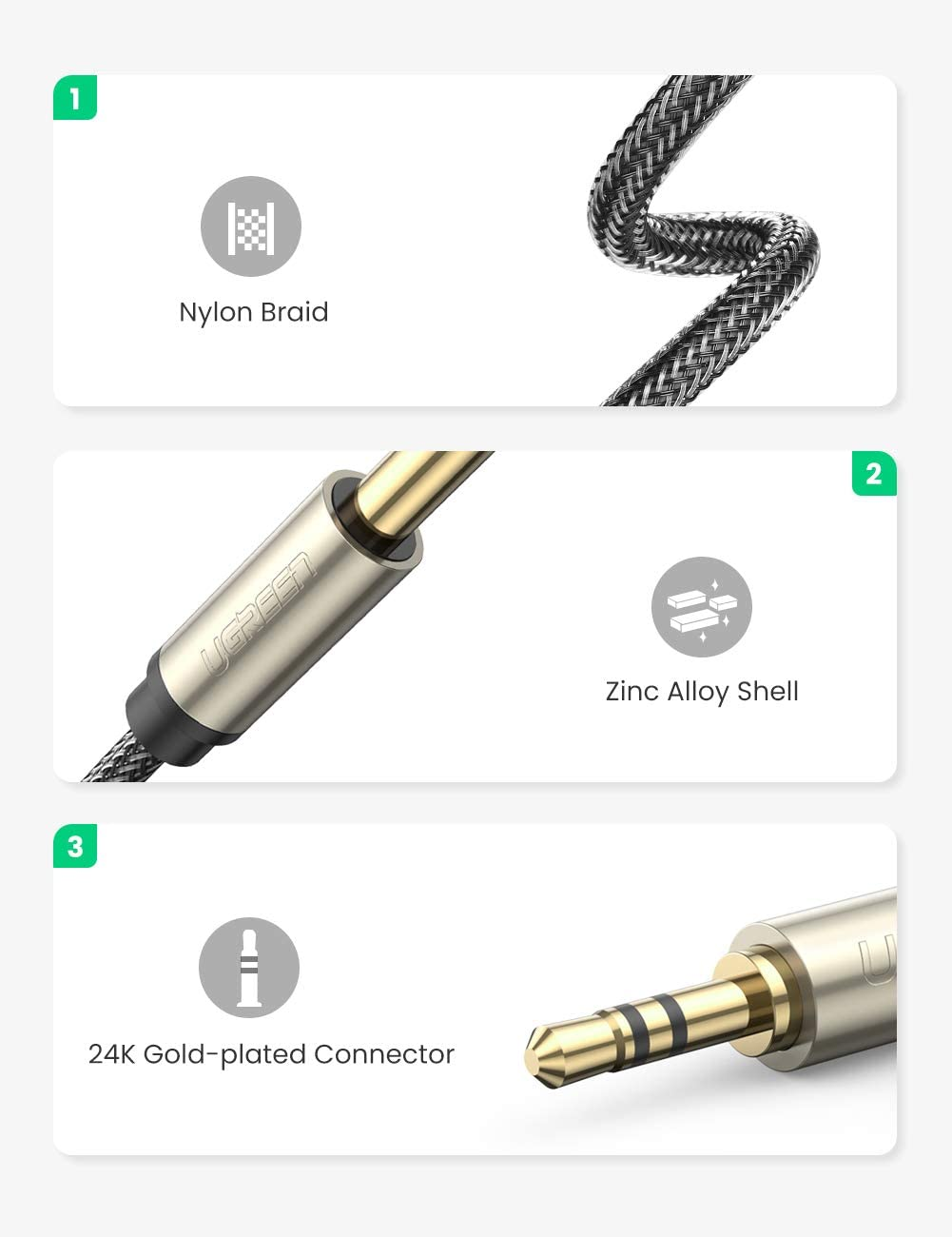 """UGREEN 6.35mm 1/4"""" Male to 3.5mm 1/8"""" Male TRS Stereo Audio Cable with Zinc Alloy Housing and Nylon Braid Compatible for iPod, Laptop,Home Theater Devices, and Amplifiers, 15FT: Home Audio & Theater"""