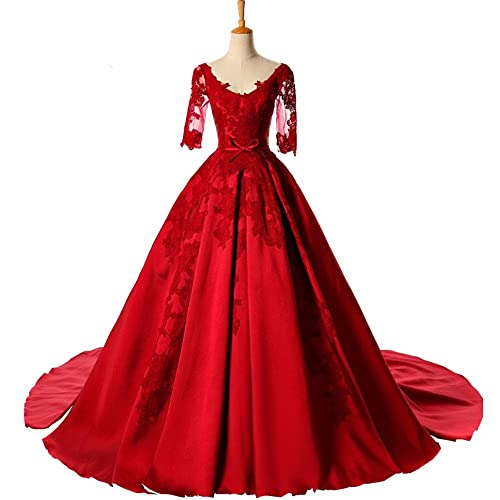 Fuffy Ball Gown red Quinceanera Dresses Long v-neck lace up Vestidos De 15 Anos