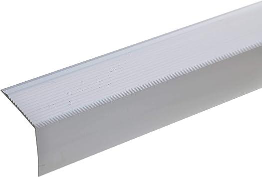 acerto 51033 Perfil angular de escalera de aluminio - 100cm 42x50mm plateado I Antideslizante I Robusto I
