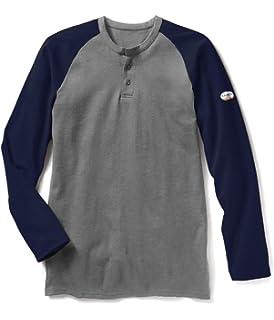 3f4b00a7 Amazon.com: 7 Oz Cotton Long Sleeve Henley FR Shirt - FR T-shirt ...