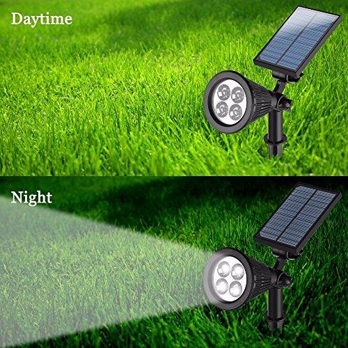 Solar Power White 4 LED Lights Garden Lawn Courtyard Spotlight Lamp (Color: Black) by bearfire
