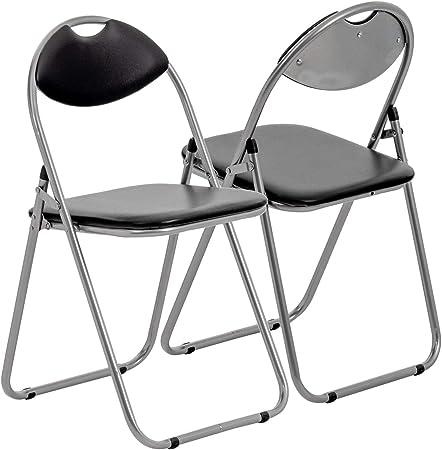 Chaise pliante rembourrée pour le bureau noir lot de 4